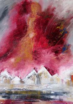 Visite d'un ange, huile 100x100cm Mireille Zagolin