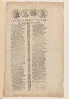 Chanson de l'Escalade en langage savoyard [Cé qu'è lainô], A Rumilli la mala-Bequê, chez Jaques Fuyard, demeurant à la rue Viperine, proché du grand bazard, tout près des Repentans, à l'Oye pendente, 1602,