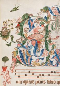 Lettrine décorée par le calligraphe Conrad Blochinger