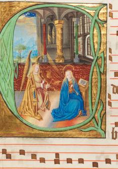 """L'Annonciation. Miniature du """"Maître de Silenen""""."""