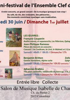 Programme du mini-Festival au Salon de Musique Isabelle de Charrière, Ch. du Pontet 2, 2013 Colombier