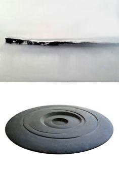 Michel Degoumois, sans titre, 2017, huile sur toile, 50x70cm; Jo Fontaine, Cosmos, 2017, pierre serpentine, diamètre 120cm kaminska&stocker