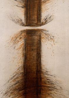 «Stèles», pointe sèche en noir et sépia sur deux plaques, 125 x 83 cm. Catalogue raisonné N° 163 - 1986 Marc Jurt