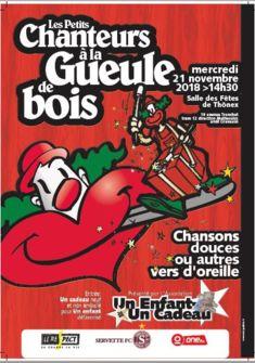 Affiche du concert des Petits Chanteurs à la Gueule de Bois du 21 novembre à 14h30 à la salle des Fêtes de Thônex