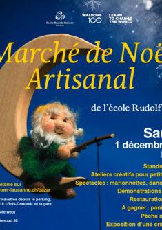 Affiche du marché de Noël artisanal 2018 de l'école Steiner