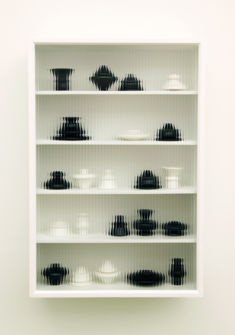 JU Sekyun, Cupboard #7, 2017, ceramics, wood, special glass, 61x20x91cm