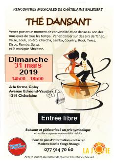 Flyer Thé Dansant du 31 mars 2019 ChezNOus c'est ChezToi