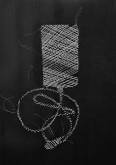 Lucia Masu, Objets de la mémoire, 2018/2019, fil cousu sur papier transparent, 29,7 x 21 cm