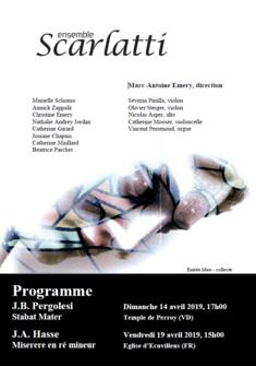 Affiche Stabat Mater, Ensemble Scarlatti Nathalie Andrey