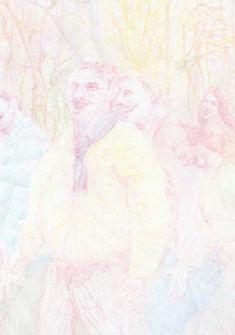 Nicolas Grand, 2018, sans titre  ohne Titel, huile et crayon sur bois  Farbstift auf Papier, 30x21cm
