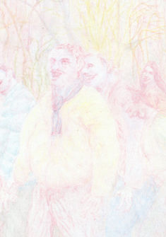 Nicolas Grand, 2018, sans titre  ohne Titel, huile et crayon sur bois  Farbstift auf Papier, 30x21cm Nicolas Grand