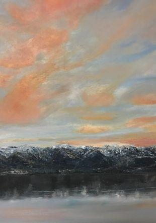 ciel et lac peinture à l'huile Corinne Wyttenbach