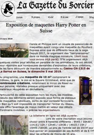 publication de l'expo par le journal La Gazette du Sorcier