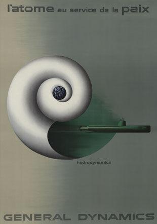 Erik Nitsche, Atome au service de la paix, lithographie, 1955 MHL