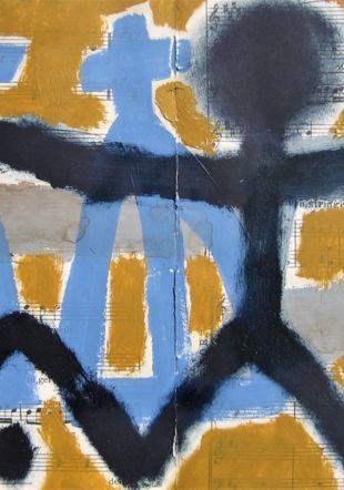 """""""Le vivant"""" Acrylique et huile sur partition"""