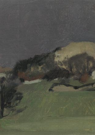 Petit paysage valaisan, huile sur toile, 16x26cm, de 1980~ © Galerie Jonas 2016 Cortaillod