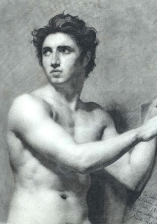 Léopold Robert, Etude de buste, 1813, Fusain sur papier Musée des beaux-arts de La Chaux-de-Fonds
