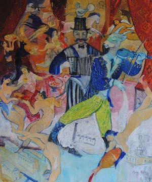 Franz Franz Roth, 2017, Zum blauen Engel, Öl und Tempera auf Baumwolle, 120 x 100 cm