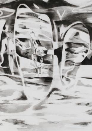 Céline Burnand, Silsila, fusain sur papier, 2019, 110x186cm