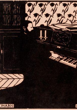 Félix Vallotto, Le piano, 1896, gravure sur bois
