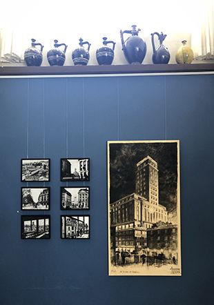Photos de la construction de la Tour Bel-Air et dessin d'Alphonse Laverrière