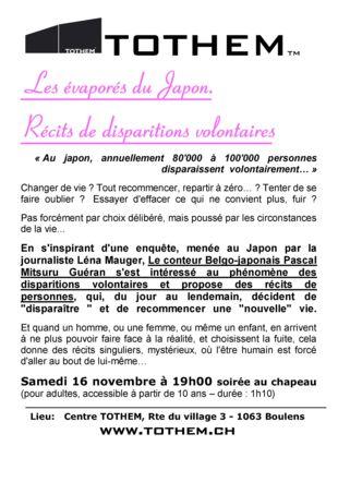 Les évaporés du Japon au Centre TOTHEM av. Pascal Mitsuru Guéran