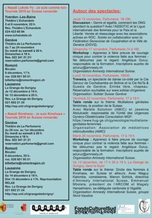 Flyer verso dates, lieux et activités (workshops et tables rondes)