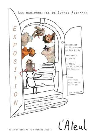 """Exposition """"Les marionnettes de Sophie"""" L'Ateul et Les Ateliers de Sophie"""