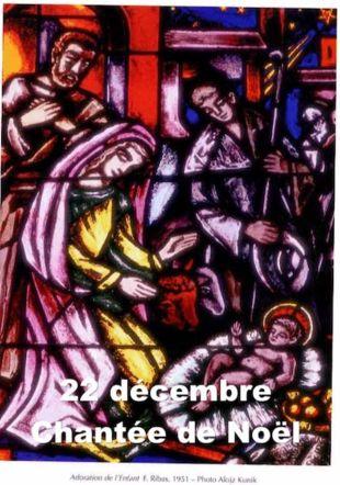Nativité, vitrail de l'Abbaye de Montheron ©  Daniel Thomas, www.carillons .ch