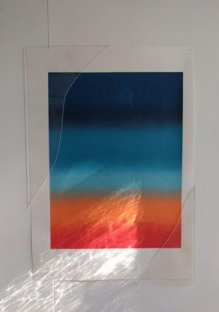 Oeuvre de Céline Villaneau, Here - Then - There, Screenprints, céramique et acrylique, 29,7 cm x 42, cm, 2019 Céline Villaneau