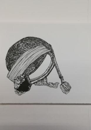 Valentine Bossert, Archeologies, Encre de Chine sur papier, 14,8 x 21 cm, 2019-20