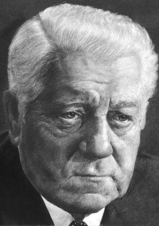 Jean Gabin, portrait au crayon blanc sur papier noir