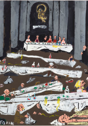 Illustration : Friedrich Dürrenmatt, Fête de Noël à Rome (1988), gouache sur carton, 70 x 99 cm, collection Centre Dürrenmatt Neuchâtel