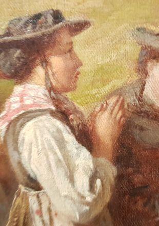 Raphael Ritz, Cérémonie dominicale au Sanetsch (détail), 1878, huile sur toile, 110 x 144 cm