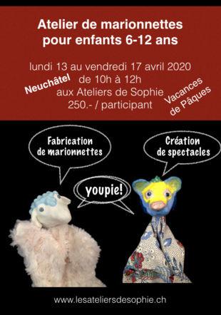 Affiche Ateliers marionnettes Pâques 2020 Les Ateliers de Sophie