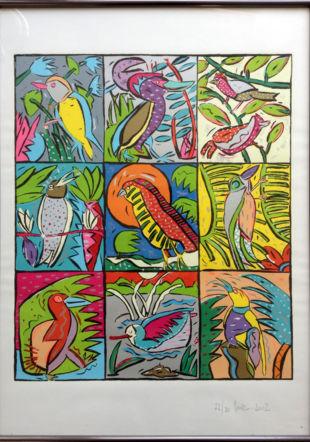 Oiseaux, 2002. Sérigraphie, 70 x 50 cm.