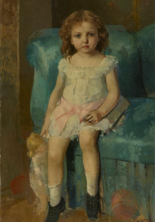 Léon Gaud (1844 - 1908) La fille de l'artiste à l'âge de 8 ans, vers 1881 Huile sur toile, 107 x 67,5 cm Inv. 1950-0042 Legs Louise Gaud, 1950 MAH, photo : F. Bevilacqua