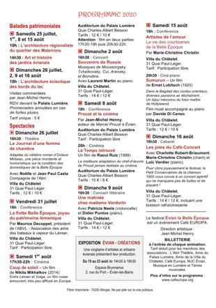 Programme - Festival Evian le Belle Epoque 2020