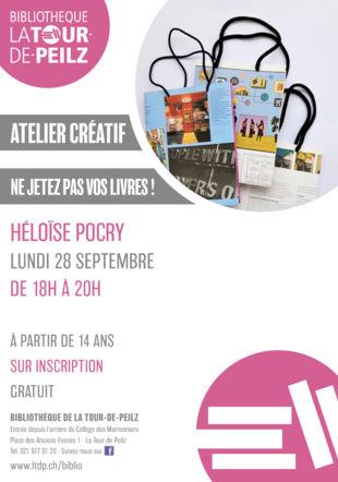 atelier ne jetez pas vos livres avec Héloïse Pocry @bibliolatour