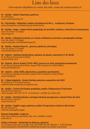 Liste des lieux ouverts (se référer au plan avec le numéro)
