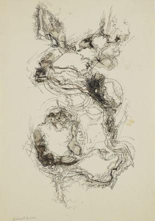 Albert-Edgar Yersin, «Plissement du parc», 1965 - 1970. Encre et lavis sur papier, 26.3 x 18 cm. Musée cantonal des Beaux-Arts de Lausanne. Acquisition, 2012