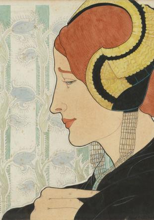 Marguerite Burnat-Provins (1872-1952) Profil à la coiffe, 1899 Crayon au graphite, encre, aquarelle, gouache blanche et rehauts dorés sur papier, 336 x 338 mm, Collection privée Julien Gremaud