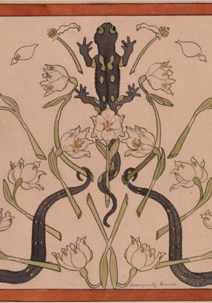 Marguerite Burnat-Provins (1872-1952) Salamandres et perce-neige, sans date Plume, encre et aquarelle sur traces de crayon de graphite, 318 x 485 mm, Musée Jenisch Vevey