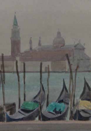 italo De Grandi : Venise gondoles et St Georges, aquarelle sur papier Musée L'Atelier De Grandi
