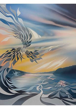 Les larmes du temps, peinture sur toile, 65 x 50 cm