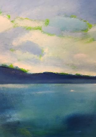 Lumineux Léman, huile sur toile Valérie Kessler