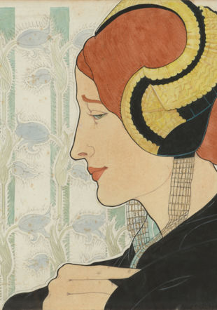 Marguerite Burnat-Provins (1872-1952) Profil à la coiffe, 1899 Crayon au graphite, encre, aquarelle, gouache blanche et rehauts dorés sur papier, 33,6 × 33,8 cm Collection privée