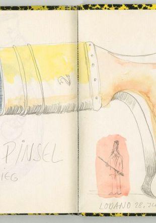 Annemie Fontana (1925–2002), Zeichnung aus Skizzenbuch, crayon et aquarelle sur papier, 1986, SIK-ISEA, HNA 306.1.1