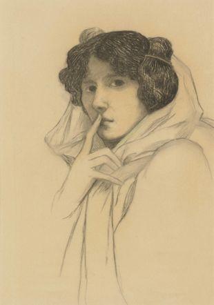 Marguerite Burnat-Provins, Autoportrait (Le Silence), s.d. vers 1904, fusain et pastel sur papier, 65 × 50 cm,  Collection privée Infolio Editions