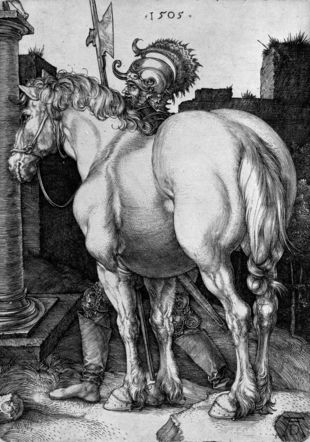 Albrecht Dürer, Le Grand Cheval, 1505, Burin sur papier vergé, 167 × 119 mm, Cabinet cantonal des estampes, Fonds des estampes du Professeur Pierre Decker, Musée Jenisch Vevey, Acquisition de la commission Decker. Julien Gremaud